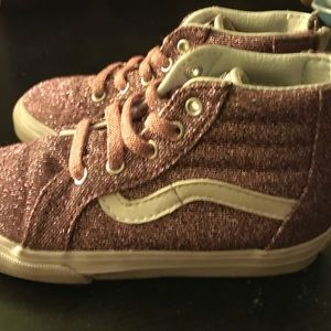 SPARKLE PINK VANS OFF THE WALL TODDLER SIZE 8